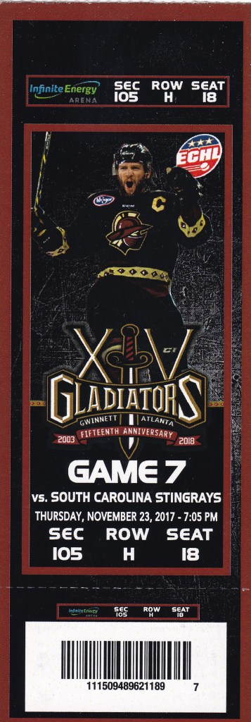 2017 ECHL Atlanta Gladiators ticket stub vs South Carolina