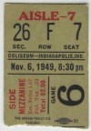 1949 AHL Indianapolis Capitals ticket stub vs St. Louis