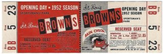 1952 MLB White Sox at Browns Full Ticket