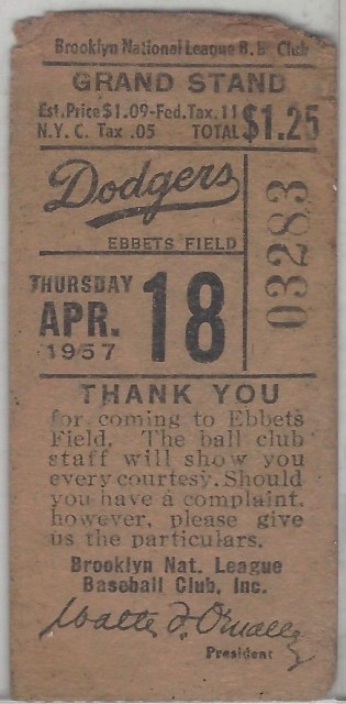 1957 MLB Pirates at Dodgers Opening Day 377