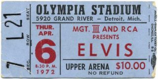 1972 Elvis Presley ticket stub from Detroit's Olympia Stadium
