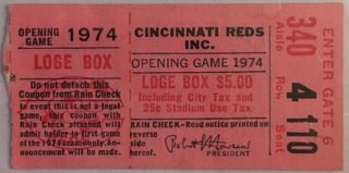 1974 MLB Braves at Reds Opening Day Ticket Stub Hank Aaron