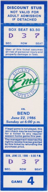 1986 Northwest League Bend Phillies at Eugene Emeralds