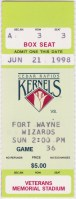 1998 Cedar Rapids Kernels ticket stub vs Ft. Wayne