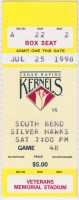 1998 Cedar Rapids Kernels ticket stub vs South Bend
