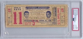 1938 Max Schmeling v Joe Louis Full Boxing Ticket 1st Round KO 1106