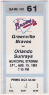 1992 Greenville Braves ticket stub vs Orlando Sunrays