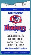 1993 Greensboro Hornets ticket stub vs Columbus Redstixx