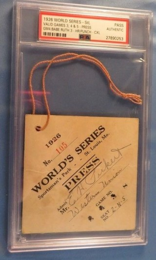 1926 World Series GM 4 Babe Ruth 3 HR GM Press Pass New York Yankees