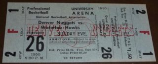 1950 Denver Nuggets ticket stub vs Waterloo Hawks ticket