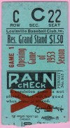 1953 Louisville Colonels Opening Day ticket stub