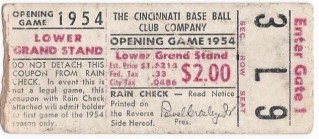 1954 Ticket Stub Hank Aaron's First Major League Game Crosley Field Braves Reds 1200