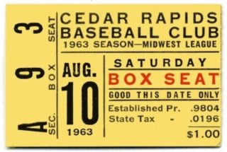 1963 Cedar Rapids Red Raiders ticket stub