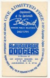 1970 Albuquerque Dodgers Pass