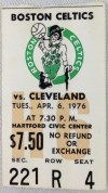 1976 Boston Celtics Ticket Stub vs Cleveland Cavaliers