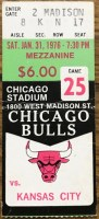 1976 Chicago Bulls ticket stub vs Kansas City Kings