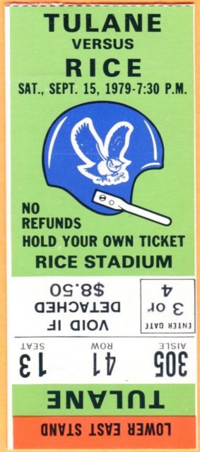1979 Rice football ticket stub vs Tulane