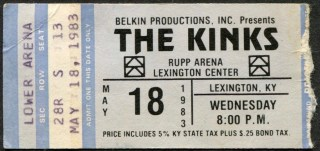 1983 Kinks concert ticket stub Rupp Arena Lexington