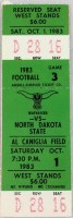 1983 Nebraska Omaha ticket vs North Dakota State