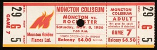 1986 AHL Moncton Golden Flames ticket stub vs Rochester Americans