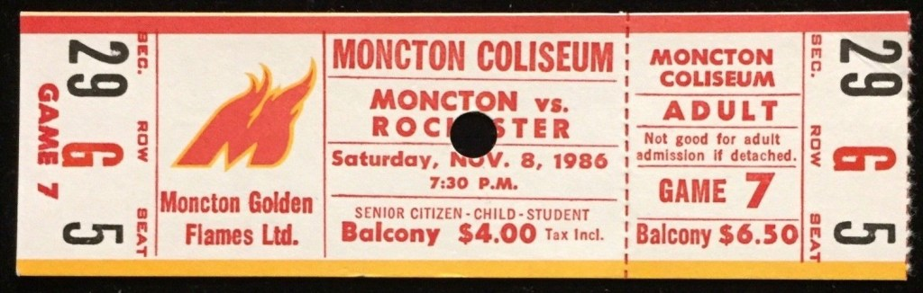 1986 AHL Moncton Golden Flames unused ticket vs Rochester