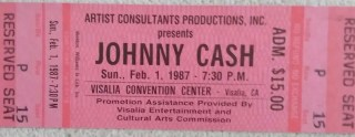 1987 Johnny Cash ticket stub Visalia