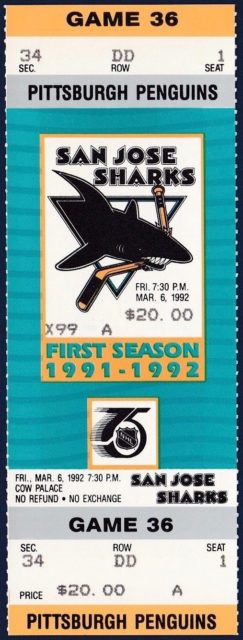1991 Sharks unused ticket vs Penguins Rick Tocchet Hat Trick