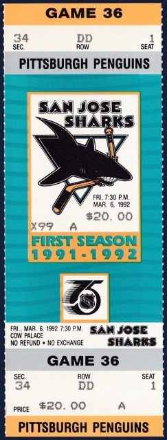1991 Sharks unused ticket vs Penguins Rick Tocchet Hat Trick 30