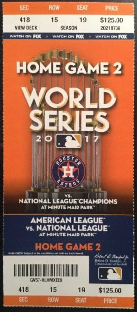 2017 World Series Game 4 Houston Astros ticket vs Los Angeles Dodgers