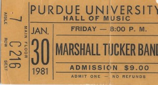1981 Marshall Tucker ticket stub West Lafayette