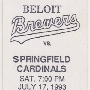 1993 Beloit Brewers ticket stub vs Springfield Cardinals 7/17/1993
