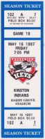 1997 Frederick Keys ticket stub vs Kinston Indians