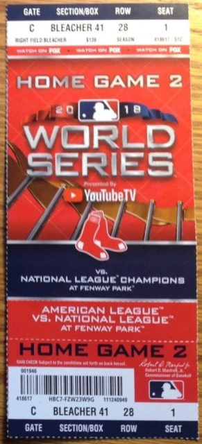 2018 World Series Game 2 Dodgers at Red Sox ticket stub