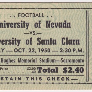 1950 NCAAF Santa Clara vs Nevada ticket stub 10/22/1950