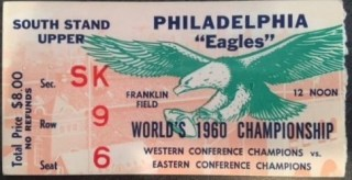 1960 NFL Championship Game Packers vs Eagles ticket stub 250