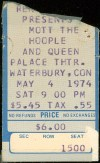 1974 Mott the Hoople Queen ticket stub Waterbury CT