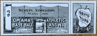 1895 Western Association Omaha Omahogs unused ticket 125