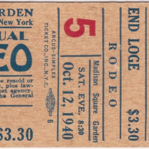 1940 Madison Square Garden Rodeo ticket stub with Pete Grubb 10/12/1940