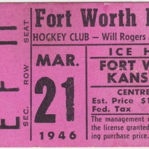 1946 Fort Worth Rangers hockey ticket stub vs Kansas City 3/21/1946