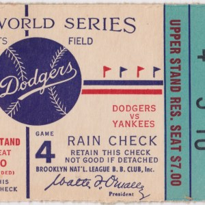 1953 World Series Game 4 ticket stub Dodgers vs Yankees 10/3/1953