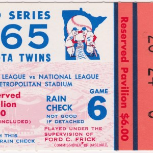 1965 World Series Game 6 ticket stub Dodgers vs Orioles 10/13/1965