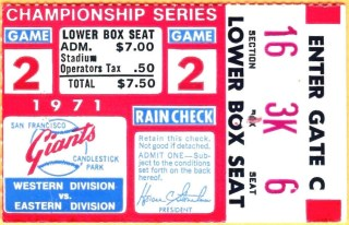 1971 NLCS Game 2 ticket stub Pirates at Giants