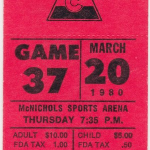1980 Colorado Rockies ticket stub vs Quebec 3/20/1980