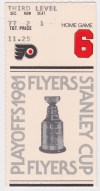 1981 2nd Round Game 5 ticket stub Flames vs Flyers