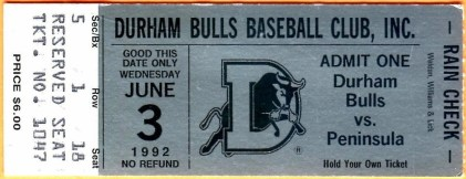 1992 Durham Bulls ticket stub vs Peninsula Pilots