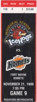 1999 UHL Rockford IceHogs ticket stub vs Ft. Wayne