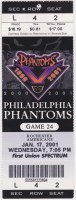 2001 AHL Philadelphia Phantoms ticket stub vs Rochester