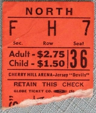 1971 EHL Jersey Devils ticket stub vs Long Island Ducks