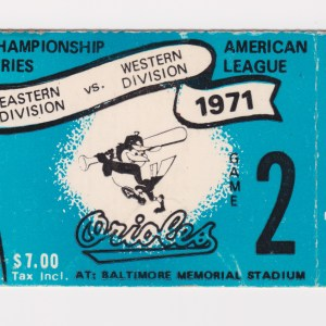 1971 ALCS Game 2 ticket stub Athletics vs Orioles 10/4/1971