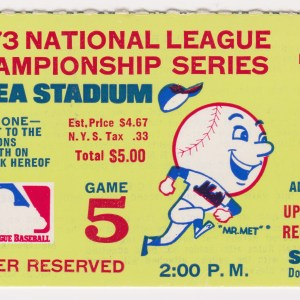 1973 NLCS Game 5 ticket stub Mets vs Reds 10/10/1973